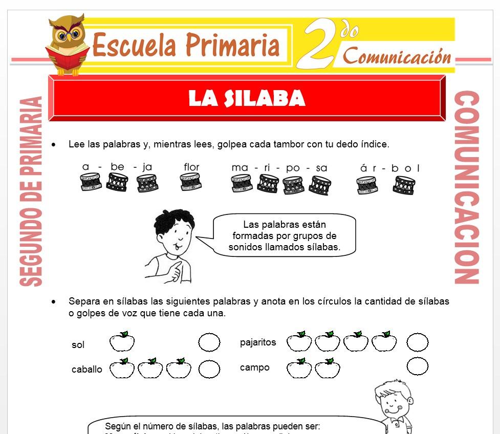 Ficha de La Silaba para Segundo de Primaria