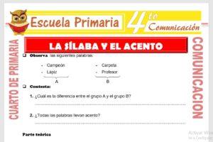 Ficha de La Silaba y El Acento para Cuarto de Primaria