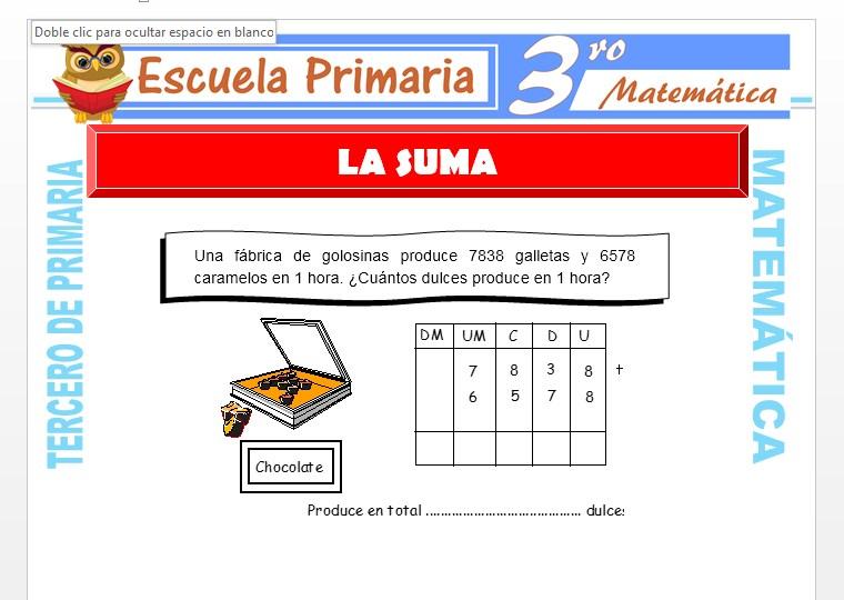 Ficha de La Suma para Tercero de Primaria