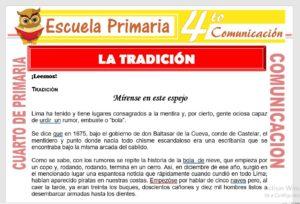 Ficha de La Tradición para Cuarto de Primaria