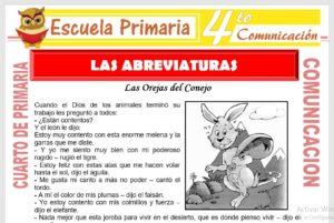 Ficha de Las Abreviaturas para Cuarto de Primaria