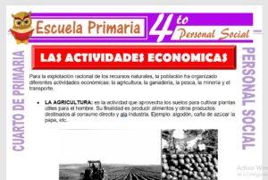 Ficha de Las Actividades Economicas para Cuarto de Primaria