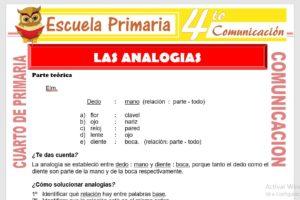 Ficha de Las Analogías para Cuarto de Primaria