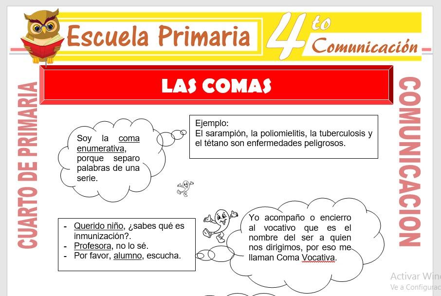 Ficha de Las Comas para Cuarto de Primaria