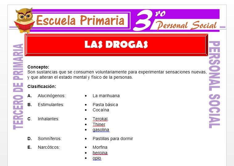 Ficha de Las Drogas para Tercero de Primaria