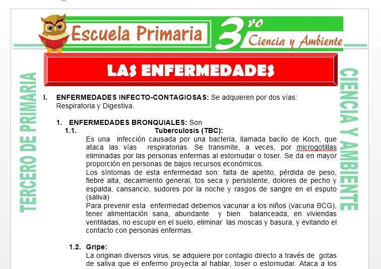 Ficha de Las Enfermedades para Tercero de Primaria