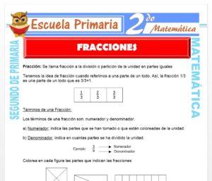 Ficha de Las Fracciones para Segundo de Primaria
