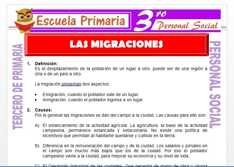 Ficha de Las Migraciones para Tercero de Primaria