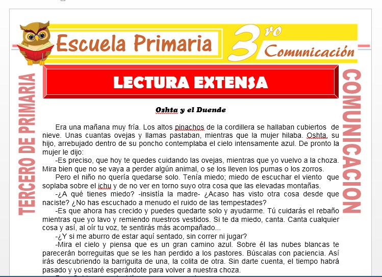 Ficha de Lectura Extensa para Tercero de Primaria