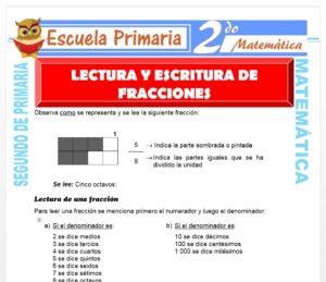Ficha de Lectura y Escritura de Fracciones para Segundo de Primaria