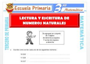 Ficha de Lectura y Escritura de números naturales para Tercero de Primaria