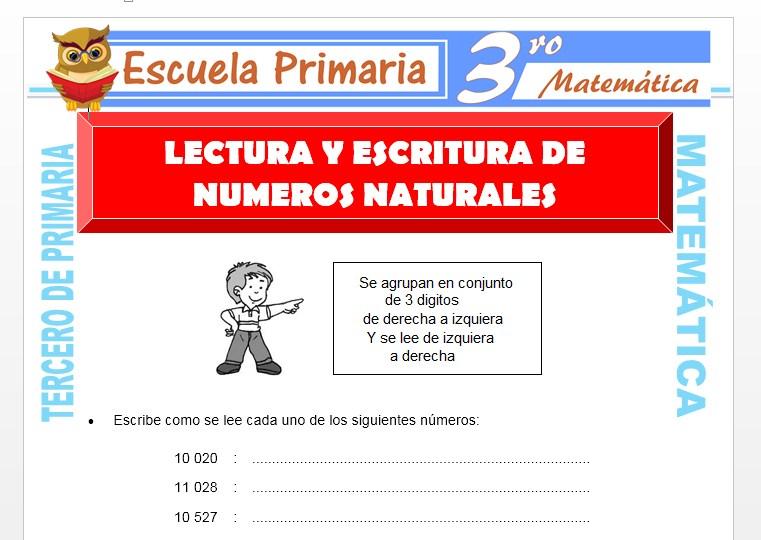 Lectura Y Escritura De Números Naturales Para Tercero De Primaria Escuela Primaria