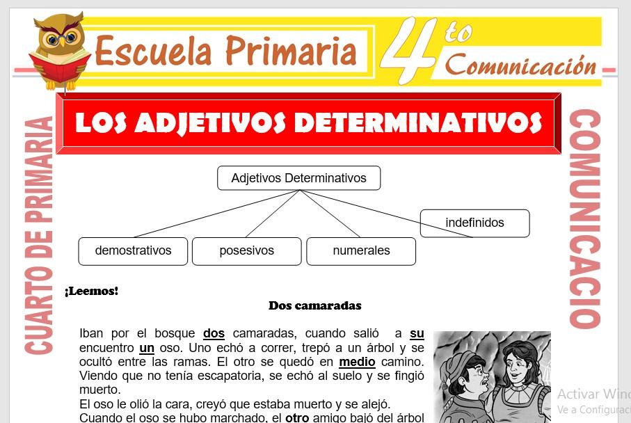 Ficha de Los Adjetivos Determinativos para Cuarto de Primaria