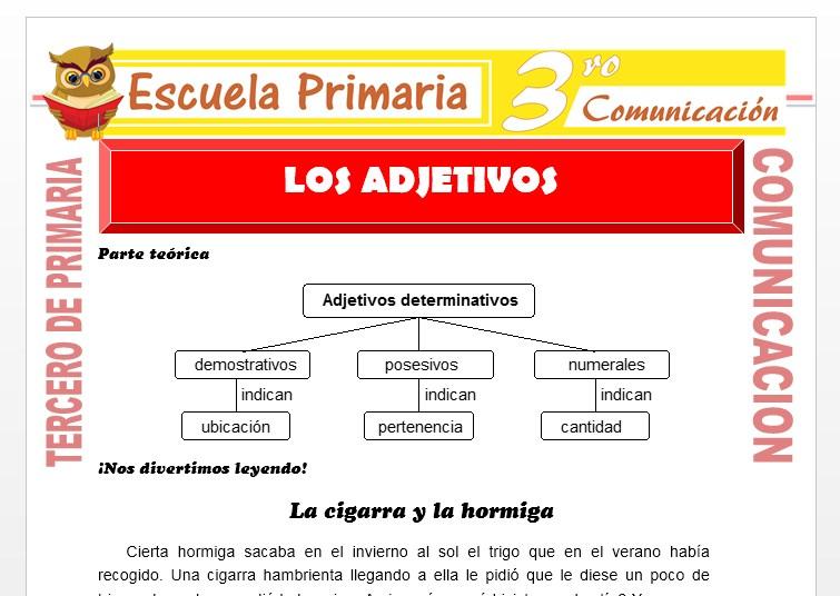 Ficha de Los Adjetivos para Tercero de Primaria