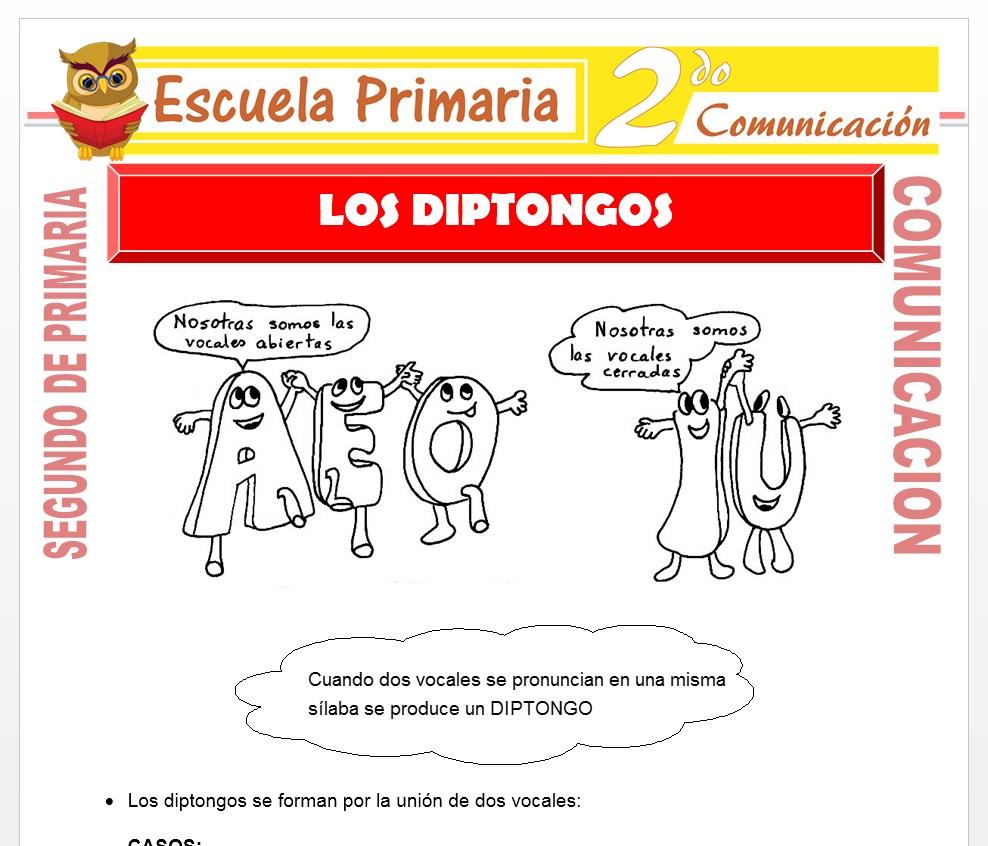 Ficha de Los Diptongos para Segundo de Primaria