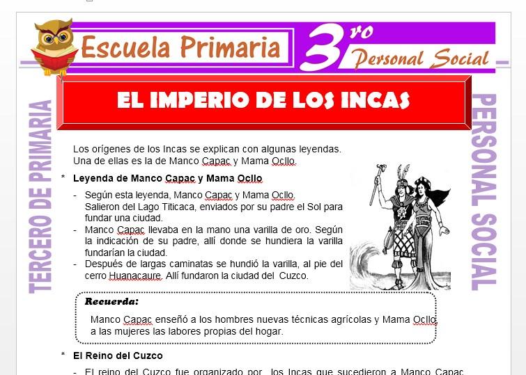 Ficha de Los Incas para Tercero de Primaria