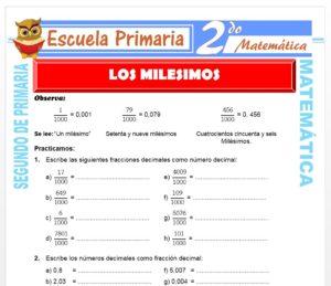 Ficha de Los Milésimos para Segundo de Primaria