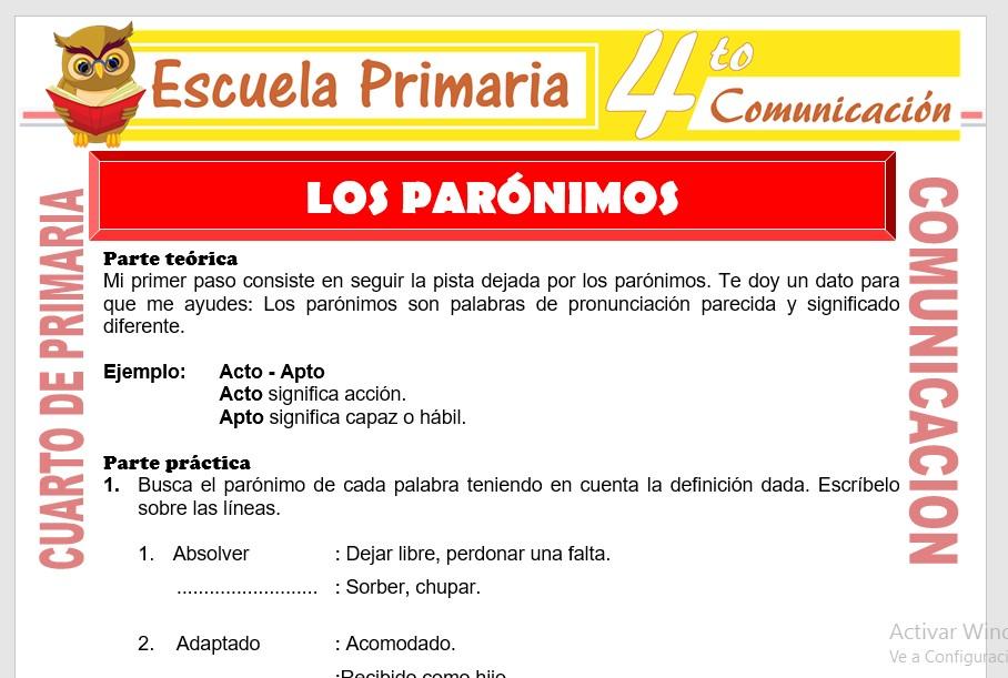 Ficha de Los Parónimos para Cuarto de Primaria