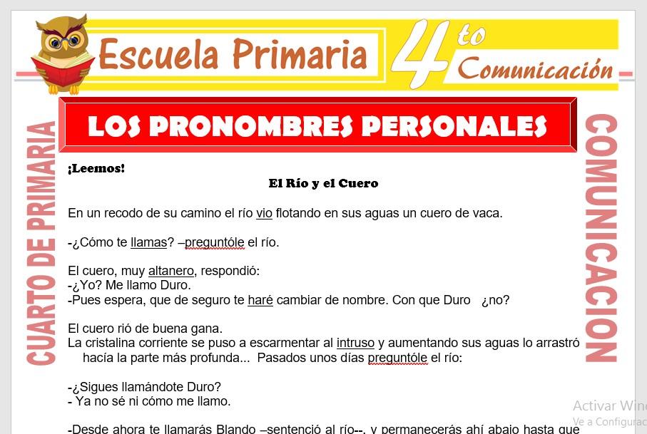 Ficha de Los Pronombres Personales para Cuarto de Primaria