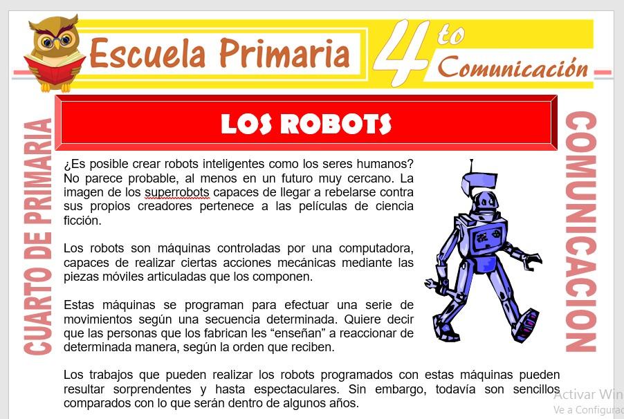 Ficha de Los Robots para Cuarto de Primaria
