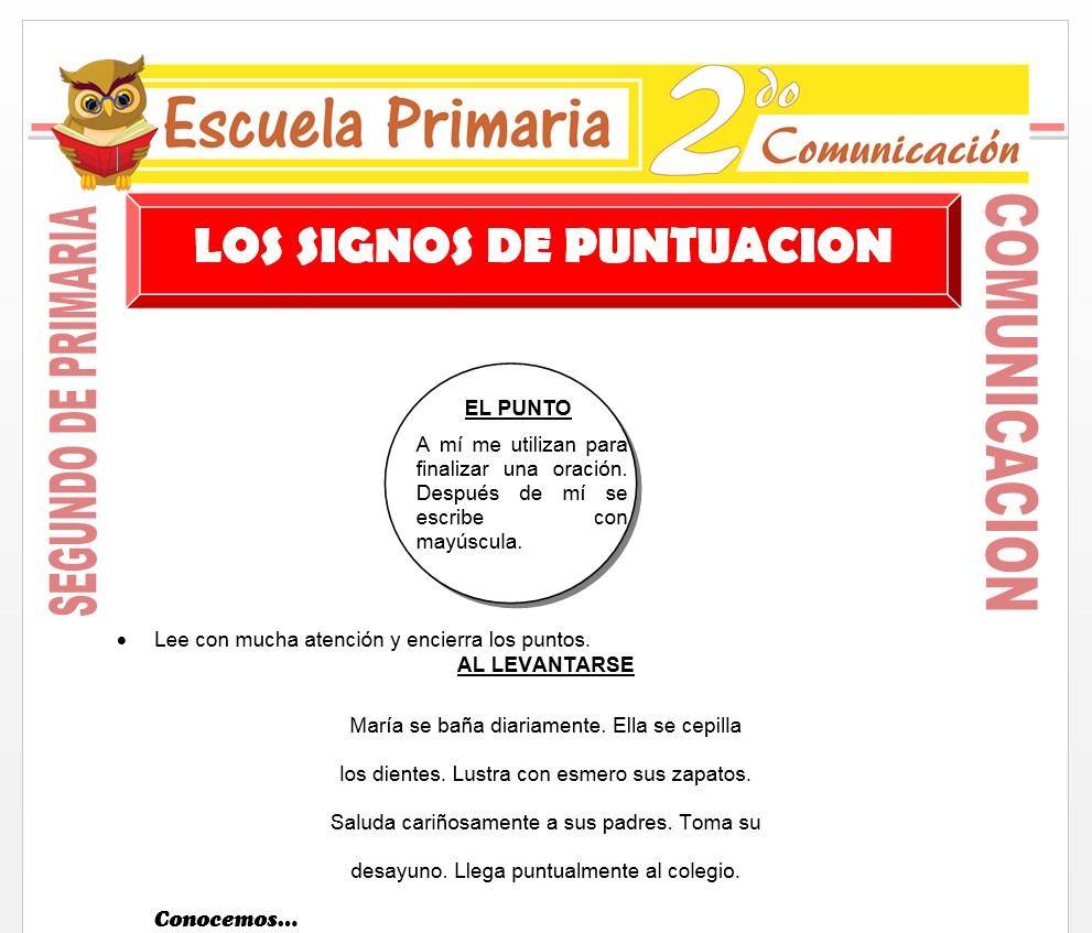 Ficha de Los Signos de Puntuación para Segundo de Primaria
