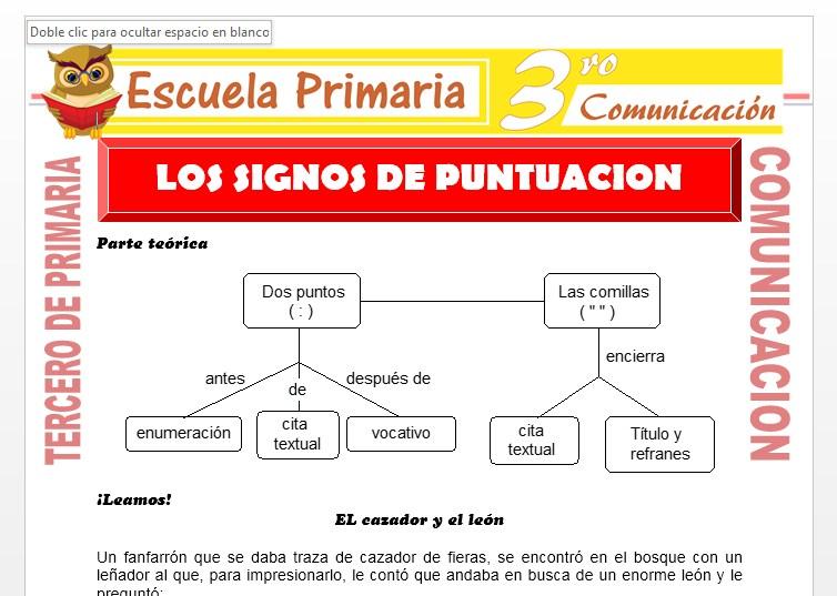 Ficha de Los Signos de puntuación para Tercero de Primaria
