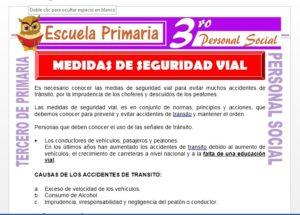 Ficha de Medidas de Seguridad para Tercero de Primaria