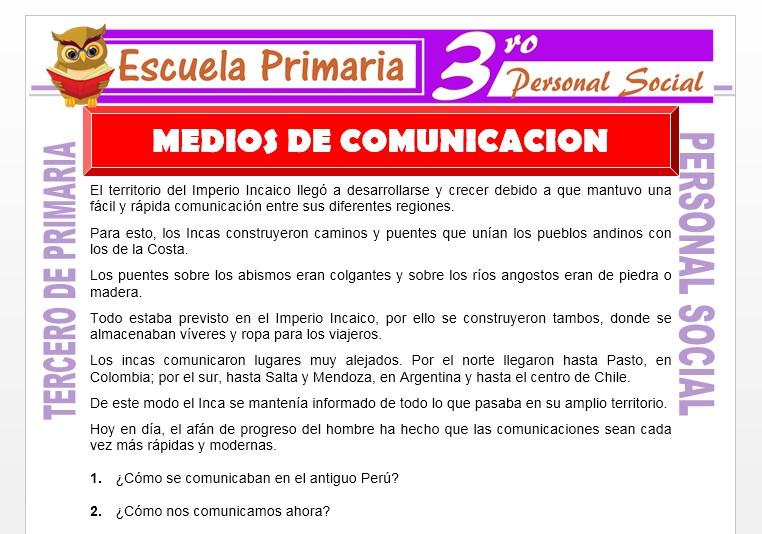 Ficha de Medios de Comunicación para Tercero de Primaria