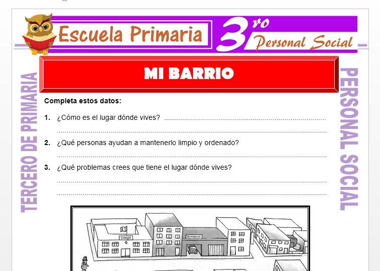Ficha de Mi Barrio para Tercero de Primaria
