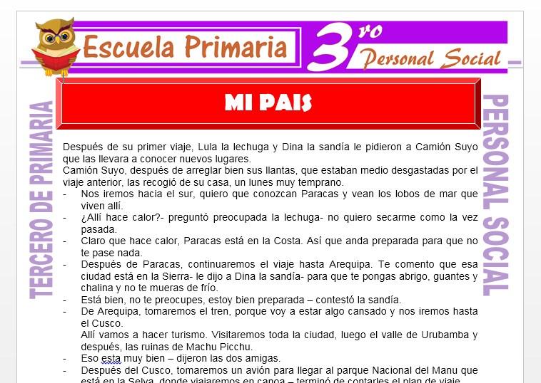 Ficha de Mi País para Tercero de Primaria
