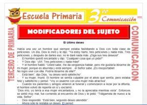 Ficha de Modificadores del Sujeto para Tercero de Primaria