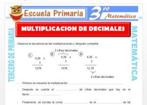 Ficha de Multiplicación de Decimales para Tercero de Primaria