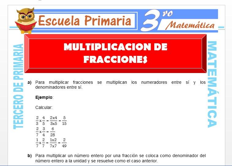 Ficha de Multiplicación de Fracciones para Tercero de Primaria