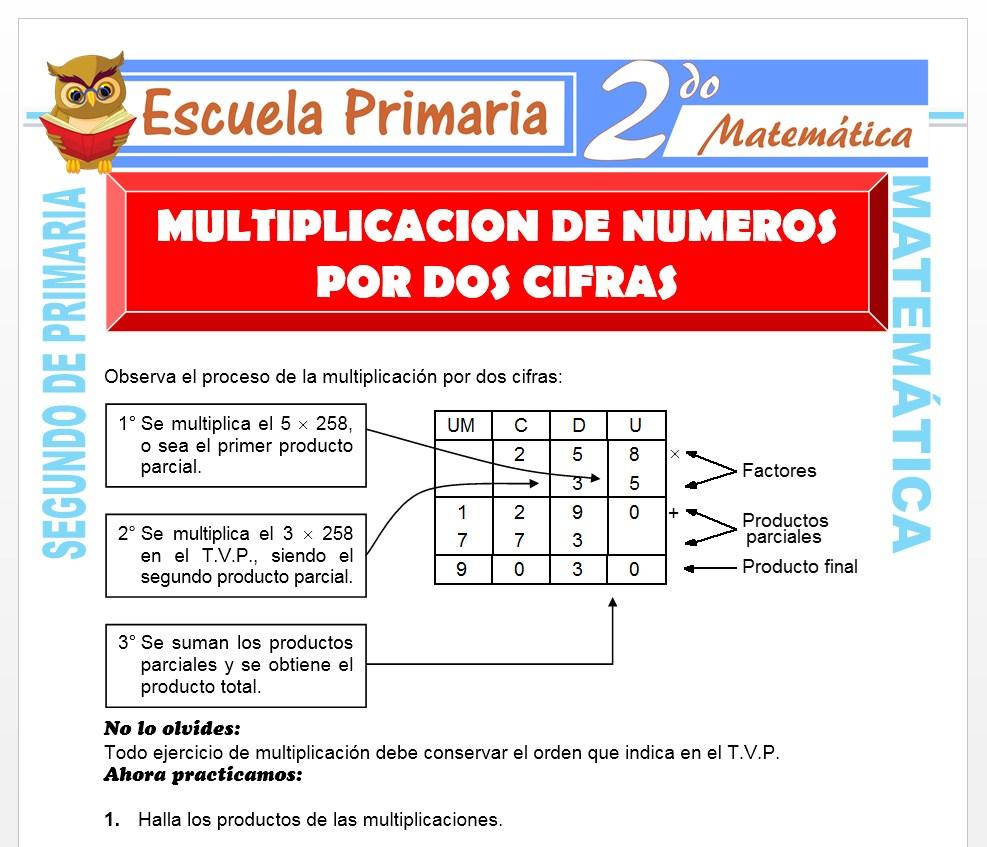 Ficha de Multiplicación de Números para Segundo de Primaria