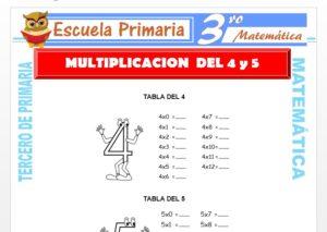 Ficha de Multiplicación del 4 y 5 para Tercero de Primaria