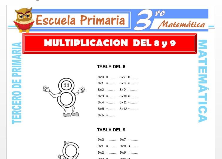 Ficha de Multiplicación del 8 y 9 para Tercero de Primaria