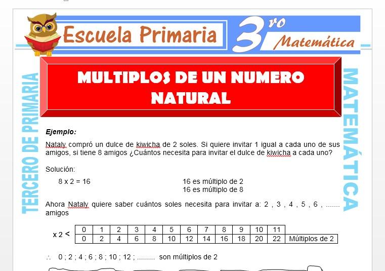 Ficha de Multiplos de un Numero Natural para Tercero de Primaria
