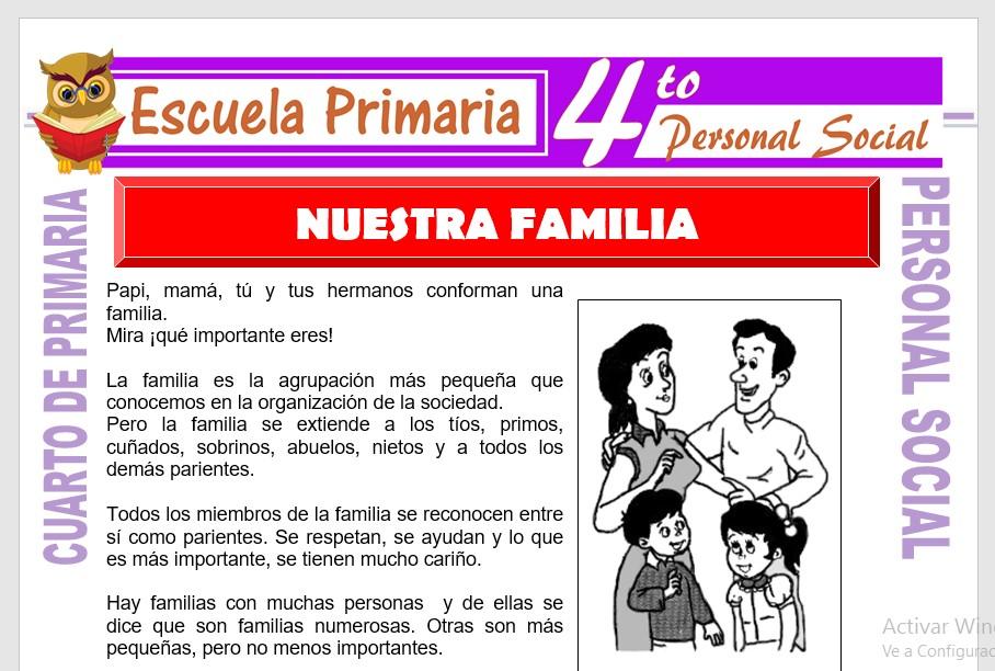 Nuestra Familia para Cuarto de Primaria