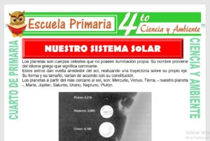 Ficha de Nuestro Sistema Solar para Cuarto de Primaria