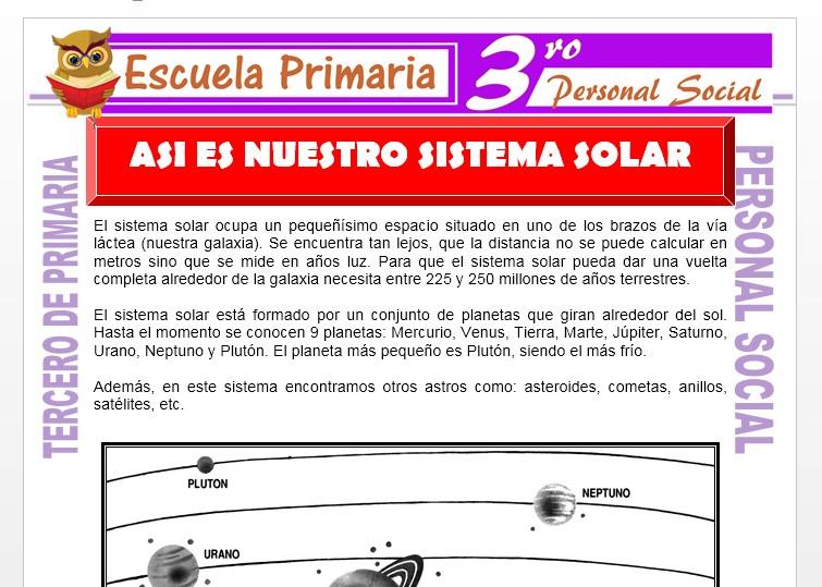 Ficha de Nuestro Sistema Solar para Tercero de Primaria