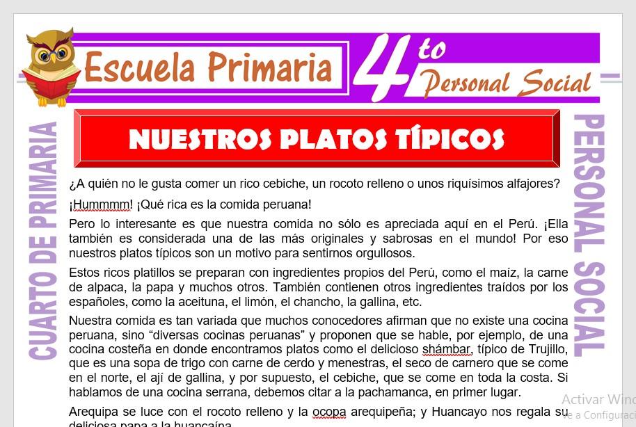 Ficha de Nuestros Platos Tipicos para Cuarto de Primaria