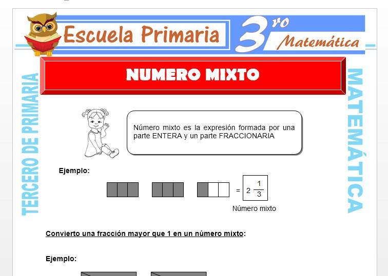 Ficha de Numero Mixto para Tercero de Primaria