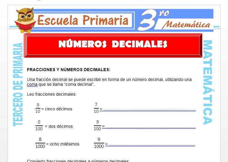 Ficha de Números Decimales para Tercero de Primaria