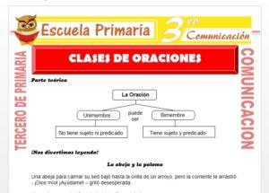 Ficha de Oración Bimembre y Unimembre para Tercero de Primaria