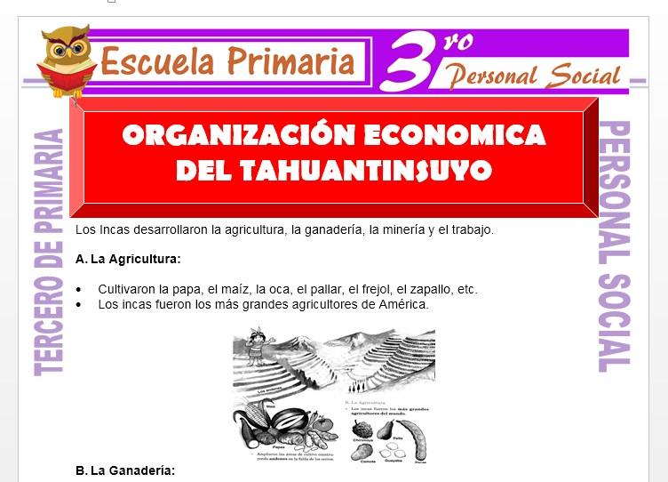 Ficha de Organización Economica del Tawantinsuyo para Tercero de Primaria