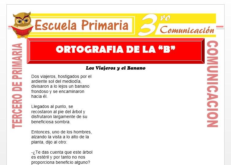 Ficha de Ortografía de la B para Tercero de Primaria