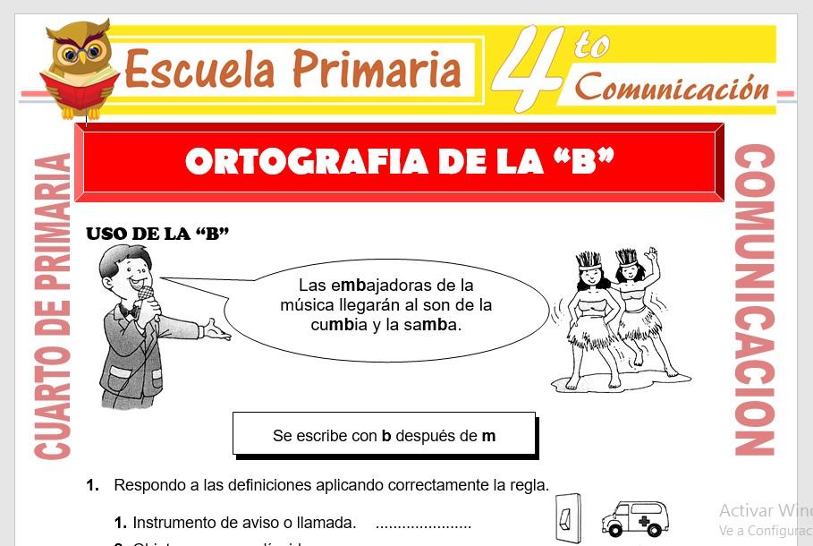 Ficha de Ortografia de La B para Cuarto de Primaria