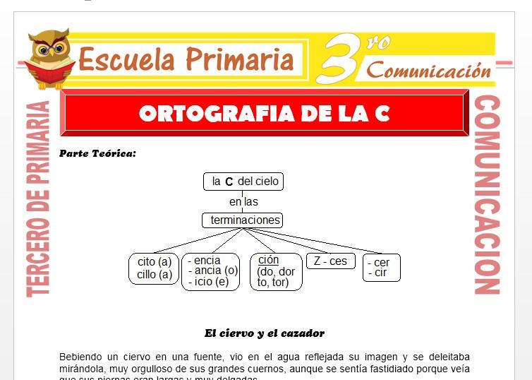 Ficha de Ortografia de la C para Tercero de Primaria