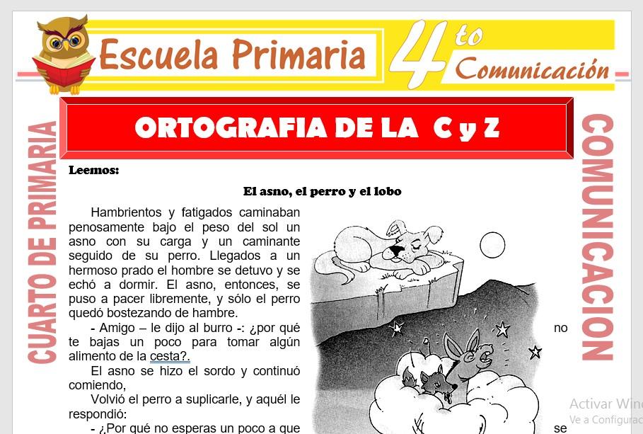 Ficha de Ortografia de La C Y Z para Cuarto de Primaria