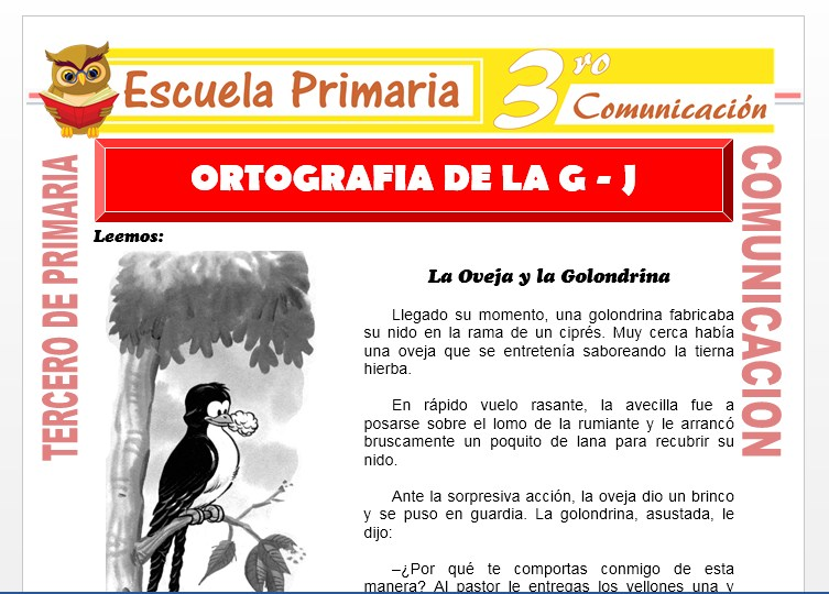 Ficha de Ortografia de la G-J para Tercero de Primaria